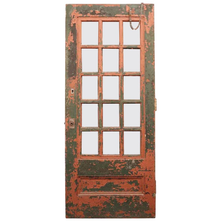 1930 Painted Wooden Exterior Industrial French Door With 15 Mixed