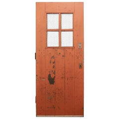 1930 Arts & Crafts Painted Exterior Industrial Door with Raised Riveted Braces