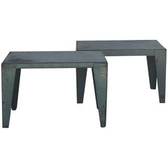 Pair of Weathered Industrial End Tables or Side Tables