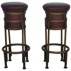 Pair of Burgundy Leather and Patinated Brass French Art Deco Stools