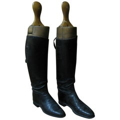 Pair of 1940s Ladies Riding Boots with Wooden Stretchers