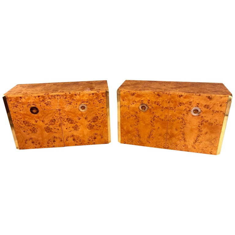 Pair of Willy Rizzo Commodes Nightstands with Brass Accents in a Light Burl Wood