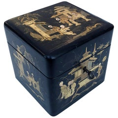 Charming English Regency Japanned Square-Form Tea Caddy