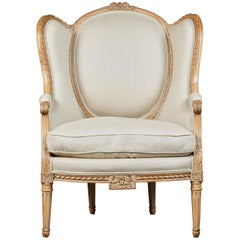 19th Century French Carved Chair with Beige Upholstery