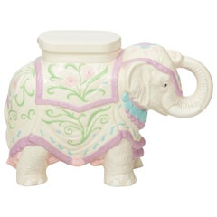 Hollywood Regency Ceramic Elephant Garden Stool or Side Table