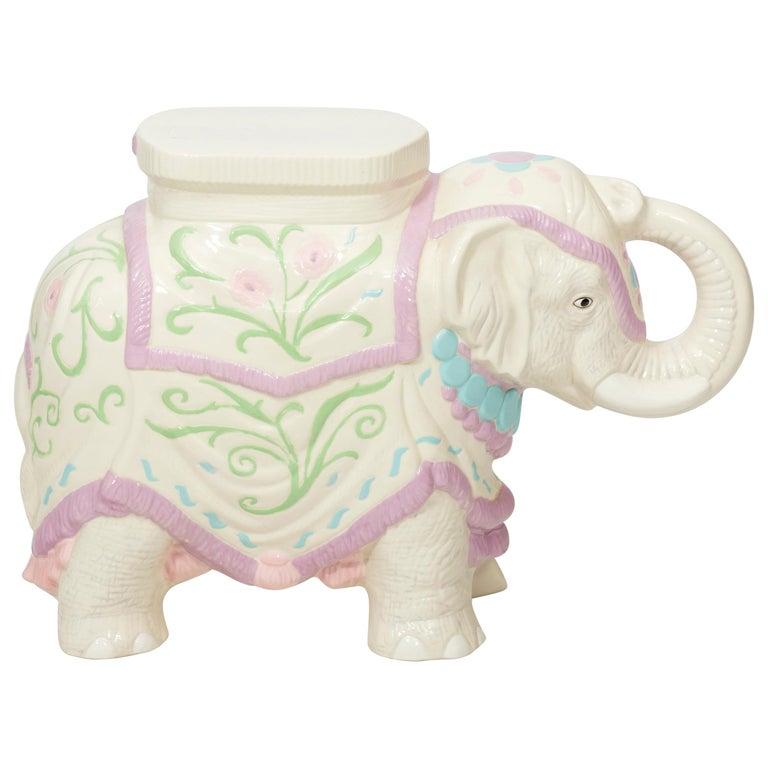 Hollywood Regency Ceramic Elephant Garden Stool or Side Table