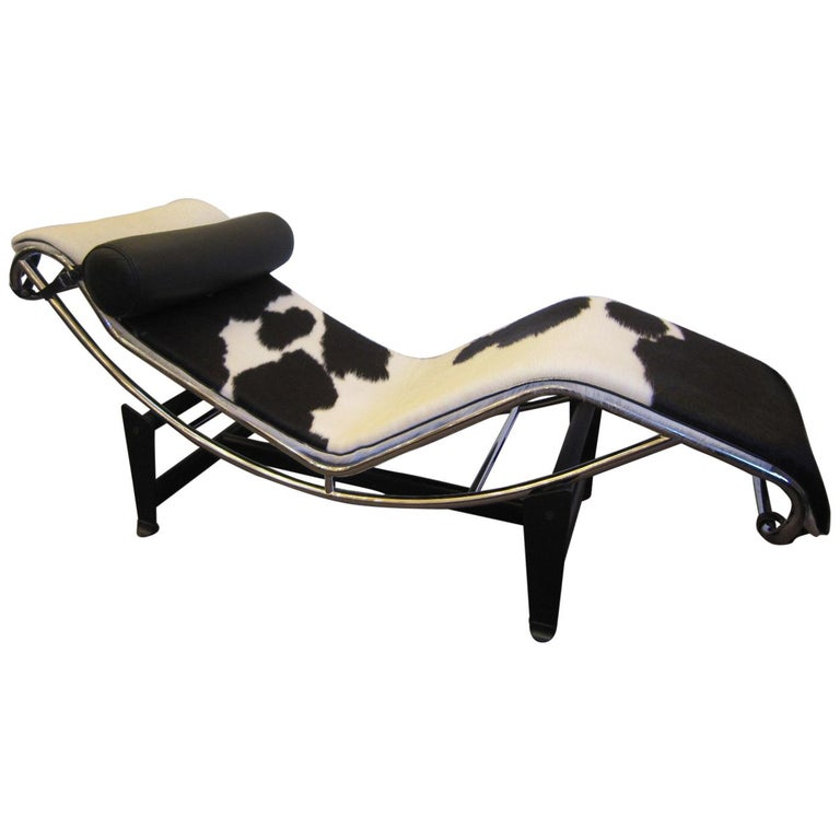 Chaise Lounge Chair Black & White Cowhide with Black Leather Pillow Le Corbusier
