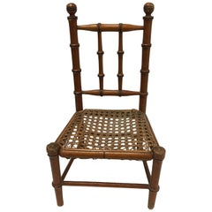 19th Century French Miniature Fruitwood Faux Bamboo and Cane Doll Chair