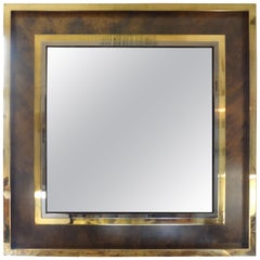 French Mid-Century Modern Square Brass Mirror- Maison Jansen Attributed 51""