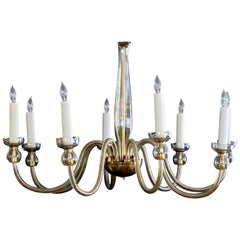 Elegant Murano 1950s Champagne-Colored Glass 8-Light Chandelier