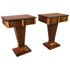 Chic Pair of Grosfeld House 1940s Mahogany and Parcel-Gilt Pedestal Tables