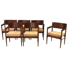 Solid Set of 6 Italian 1960s Cherrywood Armchairs with Tan Boar Skin Upholstery