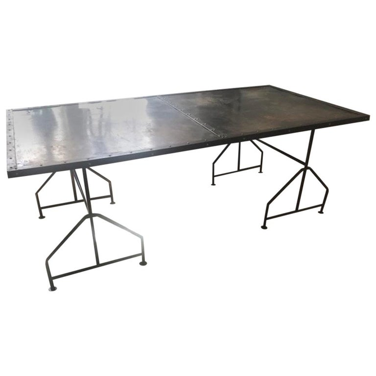 Industrial Work Table/Play Table/Desk Created with Steel Door For Sale