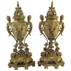 Pair of Antique 19th Century European Gilt Bronze Perfume or Incense Burners