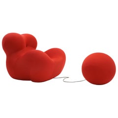 Gaetano Pesce UP5 Chair and UP6 Ottoman, New Red Upholstery, Huge, Excellent