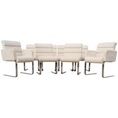 Set of Eight Laguna Pace Cantilever Chrome Dining Chairs