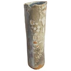 Organic Modern Tall Cylinder Vase, Wood-Fired Porcelain