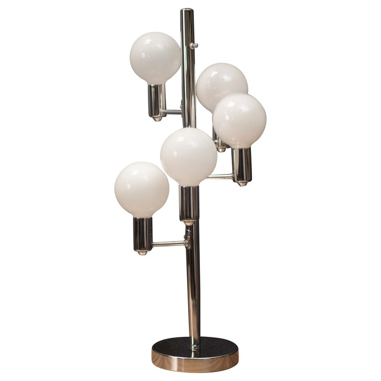 Mid-Century Modern Chrome Globe Lamp