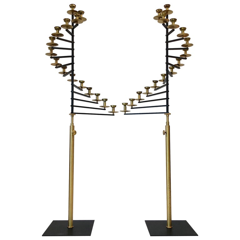 Pair of Brass Helical Floor Candelabra For Sale