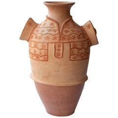Mexican Vessel Rustic Natural Clay Folk Art Handmade Ceramic Terracotta Oaxaca