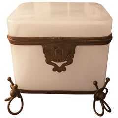French Opaline White Casket Box