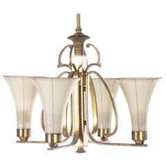 Art Deco Opaline Glass Chandelier