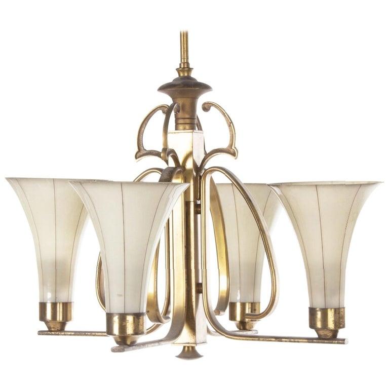 Art Deco Opaline Glass Chandelier