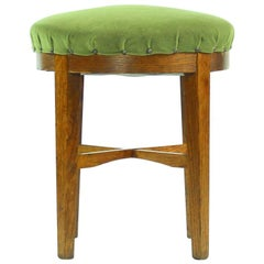 Round Stool in Green Fabric and Oak, Czechoslovakia, 1950s