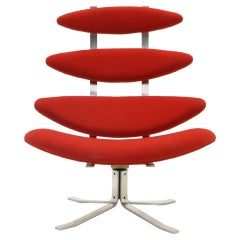 Corona Chair by Poul Volther, New Knoll Red Upholstery, High Back Swivel
