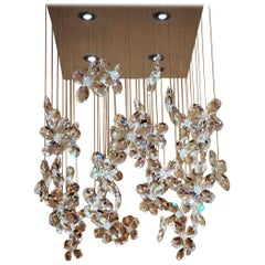 Crystal Floating Butterflies & Flowers Chandelier with Swarovski Crystal and LED