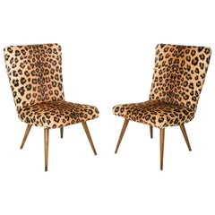 Set of Two Mid-Century Modern Leopard Print Chairs, 1960s, Germany
