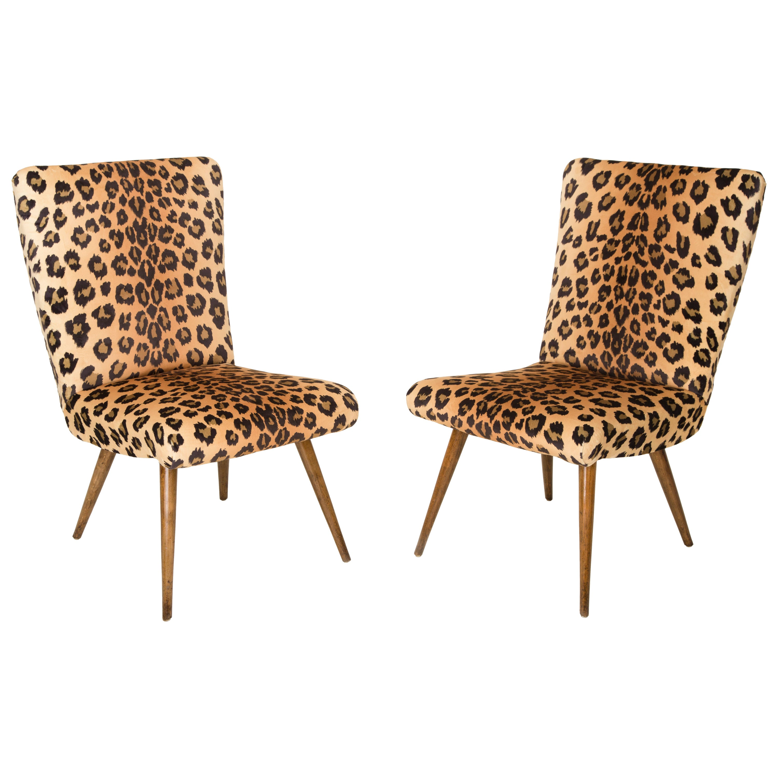 Set of two mid century modern leopard print chairs 1960s germany for sale at 1stdibs