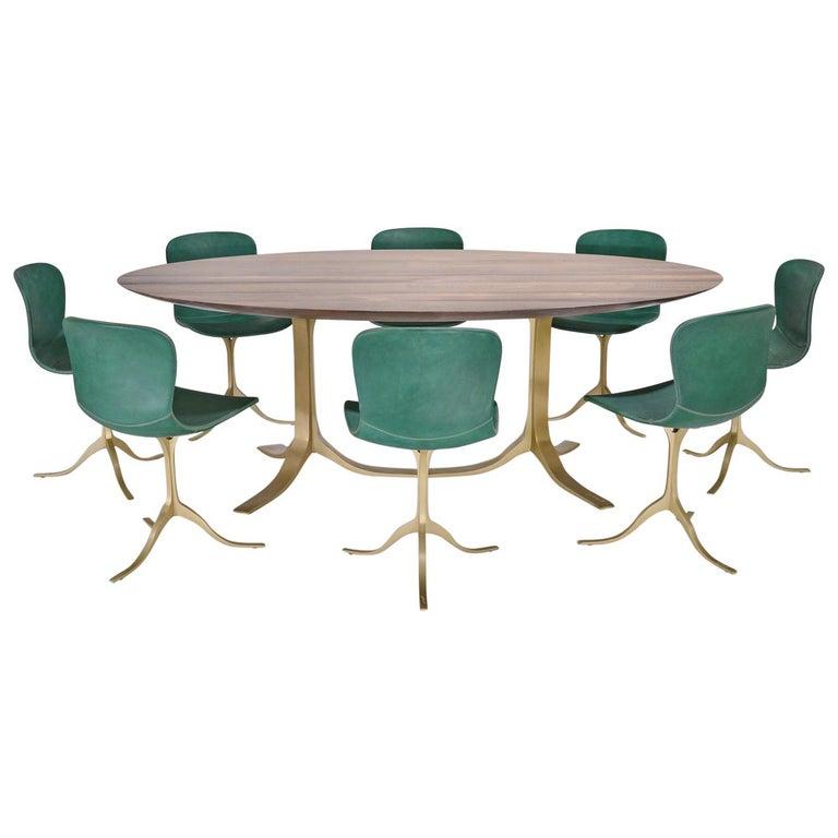 Bespoke Oval Table, Reclaimed Hardwood, Brown Brass Base, P. Tendercool In stock