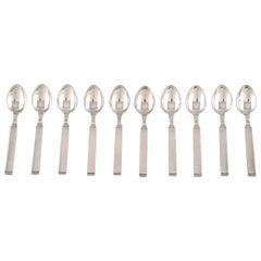 """Horsens Denmark, """"Funkis III"""", 10 Pcs, coffee Spoon, Art Deco Silver Cutlery"""