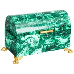 Vintage Solid Malachite and Gilt Bronze Domed Casket, 20th Century