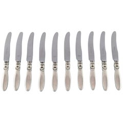 Georg Jensen Sterling Silver 'Cactus' Cutlery, Fruit Knife, 10 Pieces, in Stock