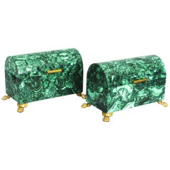 Vintage Pair of Solid Malachite and Gilt Bronze Domed Casket, 20th Century