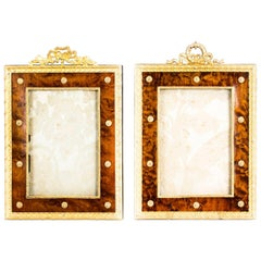 Antique Pair of French Amboyna & Ormolu Photograph Frames, 19th Century