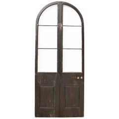 Antique Arched Pine Glazed Exterior Door