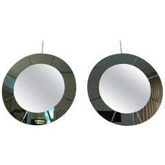 Pair of Art Deco Round Mirrors with Blue Mirrored Frame