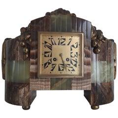 Art Deco Bronze and Onyx Clock