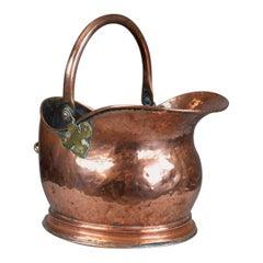 Antique Copper Coal Bin, Fireside, Scuttle Bucket, Percy Metal Works London 1929
