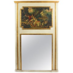Antique French Painted and Parcel-Gilt Trumeau Mirror, circa 19th Century