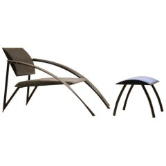 Lounge Chair with Ottoman by Jean Louis Godivier for UP8, France, 1980s