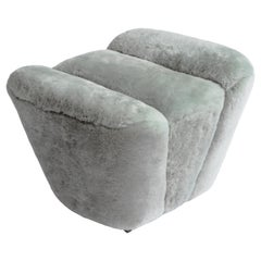 Contemporary Truffle Ottoman or Footstool in Grey Sheepskin Upholstery
