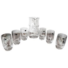 Late 20th Century German Crystal Water Jug Set Engraved with Animals