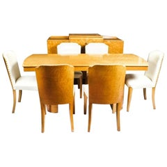1930s Art Deco Birdseye Maple Dining Suite