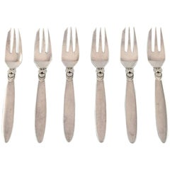 Georg Jensen Sterling Silver 'Cactus' Cutlery, Set of 6 Pastry Forks