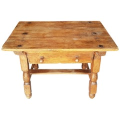 Late 19th Century Spanish Softwood Coffee Table with a Drawer
