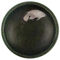 Wilhelm Kåge, Gustavsberg, Argenta Art Deco Bowl Decorated with Fish